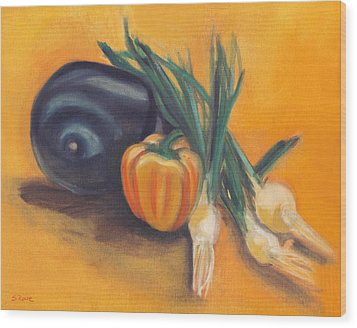 Wood Print featuring the painting Eat Your Vegetables by Shawna Rowe