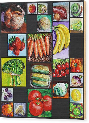 Eat Your Vegies And Fruit Wood Print by John Lautermilch