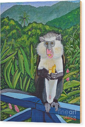 Wood Print featuring the painting Eating A Banana by Laura Forde
