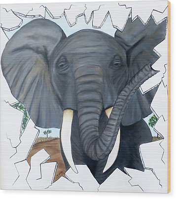 Eavesdropping Elephant Wood Print by Teresa Wing