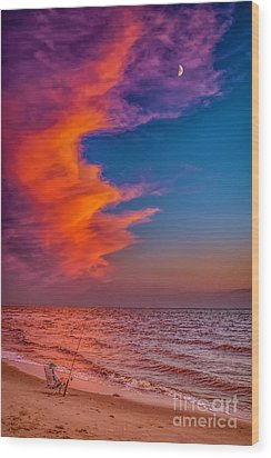 Wood Print featuring the photograph Evening Fishing On The Beach by Nick Zelinsky