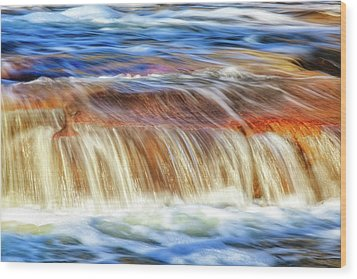 Wood Print featuring the photograph Ebb And Flow, Noble Falls by Dave Catley
