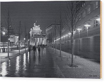Ebertstrasse And The Brandenburg Gate Wood Print by Pierre Logwin
