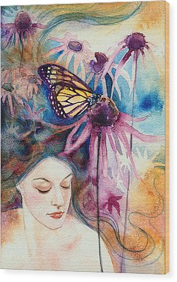 Wood Print featuring the painting Echinacea by Ragen Mendenhall