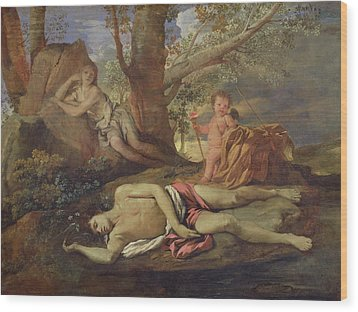 Echo And Narcissus  Wood Print by Nicolas Poussin