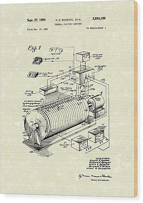 Eckdahl Computer 1960 Patent Art Wood Print by Prior Art Design