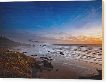 Ecola State Park At Sunset Wood Print