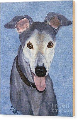 Eddie - Greyhound Wood Print by Terri Mills