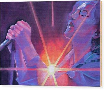 Eddie Vedder And Lights Wood Print by Joshua Morton