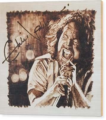 Wood Print featuring the pyrography Eddie Vedder by Lance Gebhardt