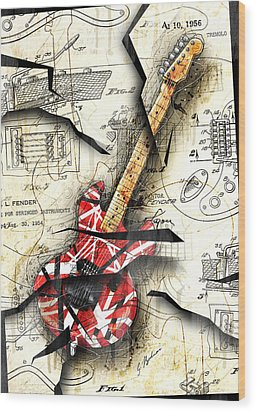 Eddie's Guitar Wood Print by Gary Bodnar