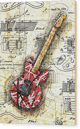 Eddie's Guitar II Wood Print by Gary Bodnar