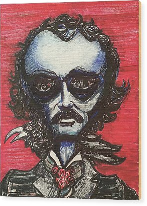 Edgar Alien Poe Wood Print by Similar Alien