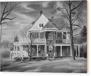 Edgar Home Bw Wood Print by Kip DeVore