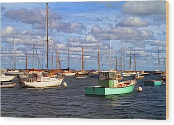 Edgartown Harbor Wood Print by Gina Cormier
