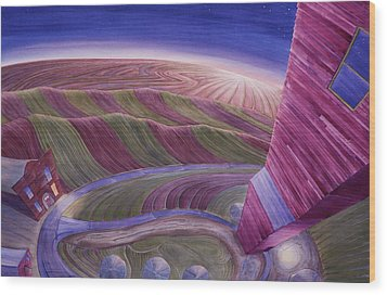 Wood Print featuring the painting Edge Of Town Iv by Scott Kirby