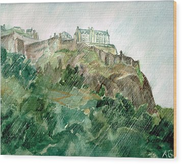 Wood Print featuring the painting Edinburgh Castle by Andrew Gillette