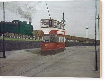Edinburgh Tram With Goods Train Wood Print