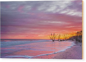Edisto Beach Sunset Wood Print
