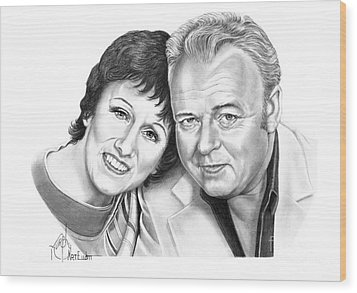 Edith And Archie Bunker Wood Print by Murphy Elliott