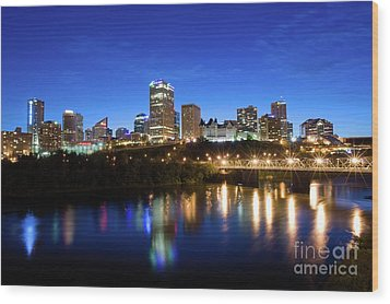 Edmonton Skyline Wood Print