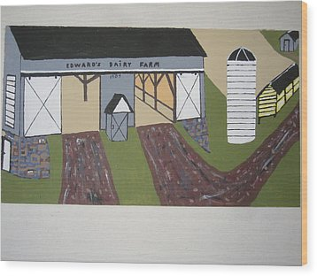 Wood Print featuring the painting Edwards Dairy Farm by Jeffrey Koss