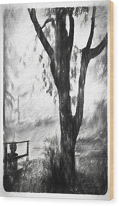 Tree In The Mist Wood Print by Rena Trepanier