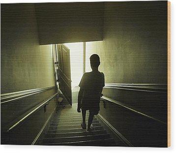 Eerie Stairwell Wood Print by Scott Hovind