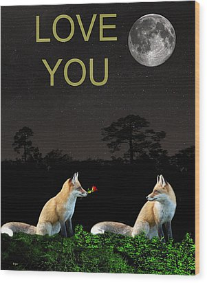 Eftalou Foxes Love You Wood Print by Eric Kempson