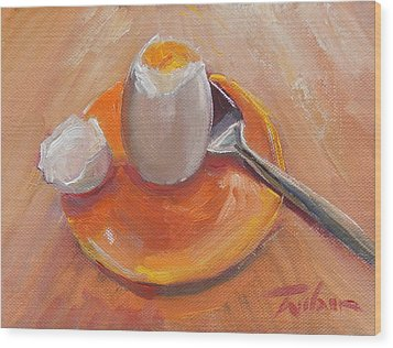 Egg And Spoon Wood Print by Ron Wilson
