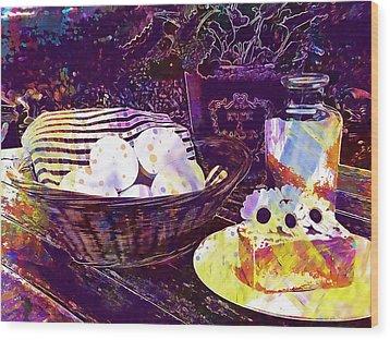 Wood Print featuring the digital art Egg Milk Butter Out Garden Herbs  by PixBreak Art