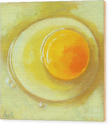 Egg On A Plate - Realism Painting Wood Print by Linda Apple