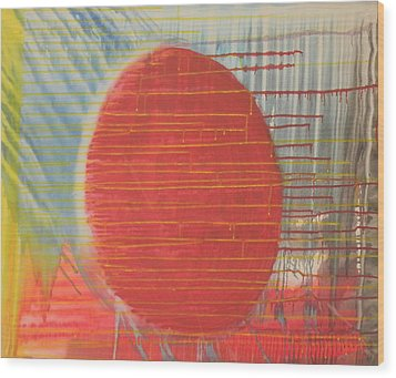 Egg Shaped Red Orb Wood Print by James Howard