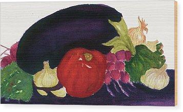 Eggplant Casserole Wood Print by Joan Zepf
