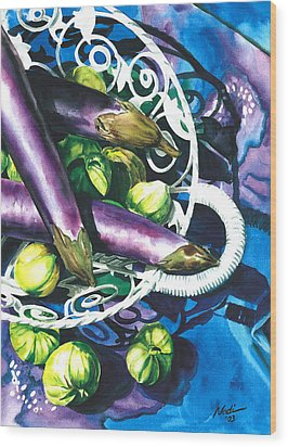 Eggplants Wood Print by Nadi Spencer