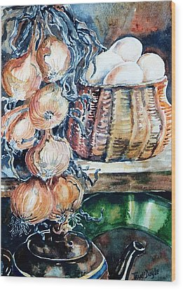 Wood Print featuring the painting Eggs And Onions In The Larder  by Trudi Doyle