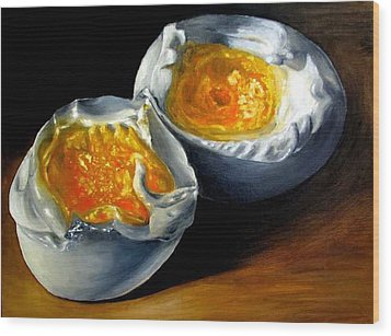 Eggs Contemporary Oil Painting On Canvas  Wood Print by Natalja Picugina