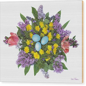 Wood Print featuring the photograph Eggs In Dandelions, Lilacs, Violets And Tulips by Lise Winne