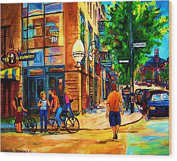 Wood Print featuring the painting Eggspectation Cafe On Esplanade by Carole Spandau
