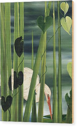 Wood Print featuring the painting Egret In Reeds by Anne Beverley-Stamps