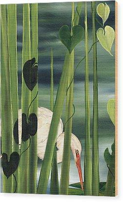 Egret In Reeds Wood Print