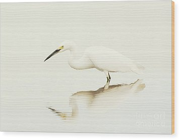 Egret In Vanilla Tones Wood Print