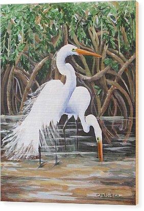 Egrets And Mangroves Wood Print