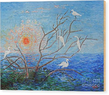 Egrets At Sunrise Wood Print by Doris Blessington