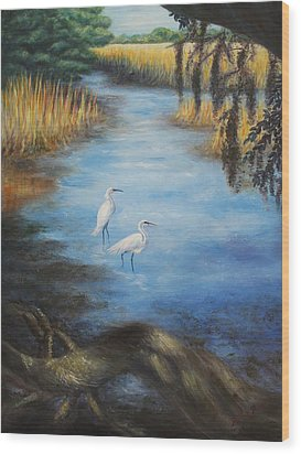 Egrets On The Ashley At Charles Towne Landing Wood Print by Pamela Poole