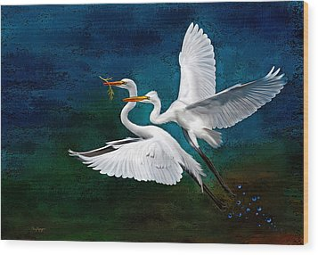 Egrets Wood Print by Thanh Thuy Nguyen