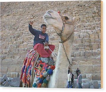 Egypt - Boy With A Camel Wood Print by Munir Alawi