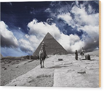 Egypt - Clouds Over Pyramid Wood Print by Munir Alawi