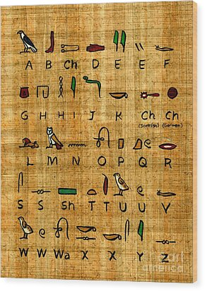 Wood Print featuring the painting Egyptian Alphabet by Pet Serrano
