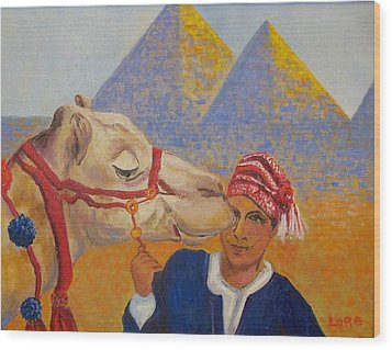 Egyptian Boy With Camel Wood Print by Lore Rossi